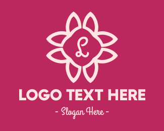 Wedding - Pink Flower Letter logo design
