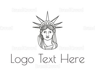Outlines - Minimalist Statue of Liberty logo design