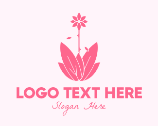 Water Lily - Pink Wellness Plant logo design