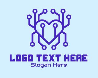 Fortnite - Tech Heart Circuit Board logo design