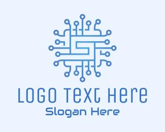 Processor - Blue Tech Processor Circuit logo design