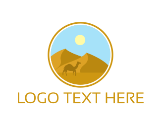 Middle East - Camel Desert Badge logo design