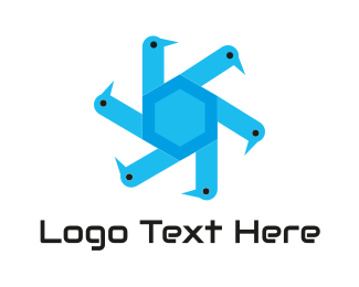 Gears - Blue Mechanic Bird logo design