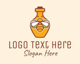 Honey Bee - Organic Honey Bee Bottle  logo design