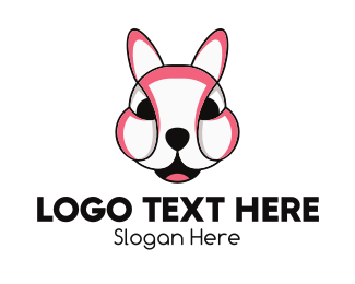 Pink Rabbit - Pink Animal Mascot logo design