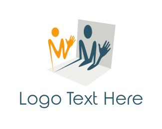 Shadow - Man Letter M logo design