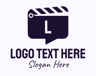 Filming - Movie Clapboard Chat Lettermark logo design