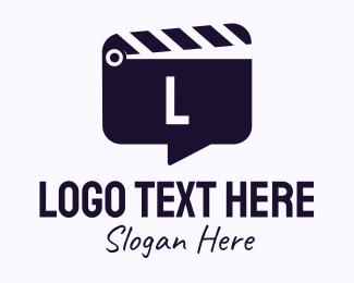 Tv Show - Movie Clapboard Chat Lettermark logo design