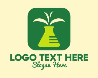 Potion - Test Tube Leaf Application logo design