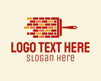 Masonry - Brick Wall Paintbrush logo design