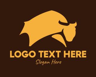 Livestock - Yellow Livestock Bull logo design