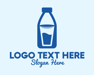 Fresh Milk - Glass Milk Bottle  logo design