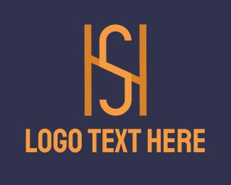 S - Orange Monogram H & S logo design