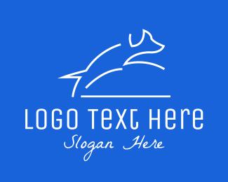 Line Art - White Dog Line Art logo design