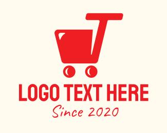 Wagon - Red Shopping Cart Letter T logo design