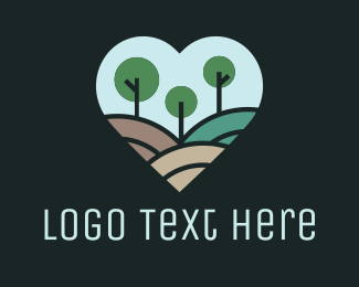 Forest - Abstract Forest Heart logo design