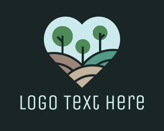 Landscape Architect - Forest Landscape Heart logo design