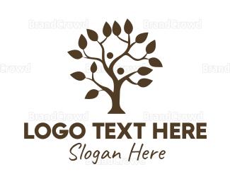 Couple - Brown Couple Tree logo design