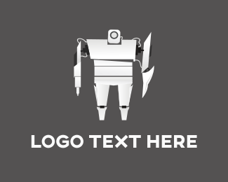Engineering - White Robot logo design