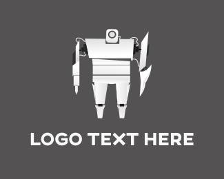 Cyborg - White Robot logo design