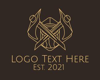 Camper - Minimalist Lumberjack Axe  logo design