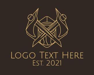 Hatchet - Minimalist Lumberjack Axe logo design