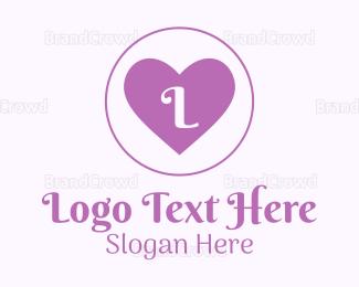 Bride - Lilac Heart Lettermark logo design