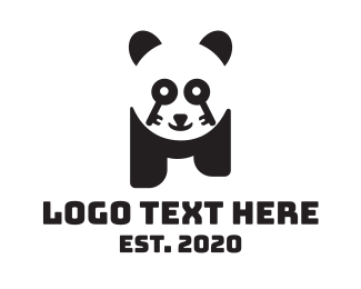 Key - Key Lock Panda logo design