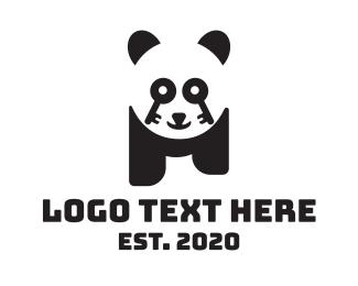 Locked - Key Lock Panda logo design