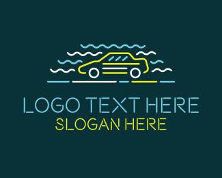 Sedan - Neon Carwash Shop logo design