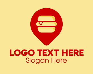 Pin - Burger Location Pin logo design