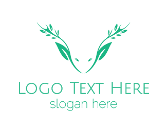 Vegan Meat - Green Nature Deer  logo design