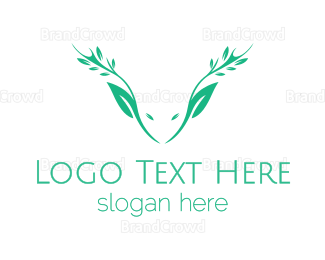 Reindeer - Green Nature Deer  logo design