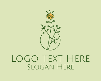 Peony - Minimalist Peony Flower  logo design