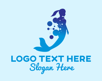 Ocean - Mermaid Ocean Bubbles logo design