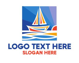 Framing - Sunrise Sailboat Boat Painting logo design