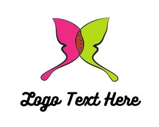 Green And Pink - Green & Pink Butterlfy logo design