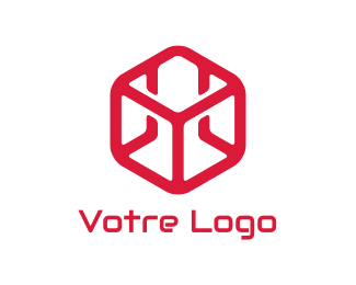 Construction Red Construction Cube logo design