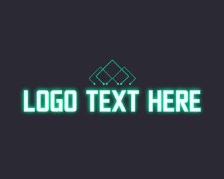 Neon Green - Futuristic Neon Wordmark logo design