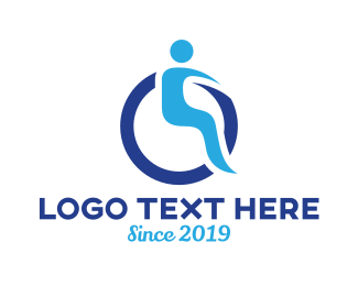 Disability - Blue Wheelchair logo design