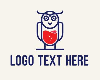 Milkshake - Owl Beverage Bird Cafe logo design