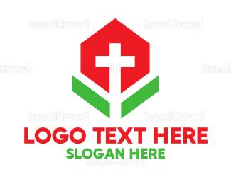 Cathedral - Minimalist Cross Flower logo design