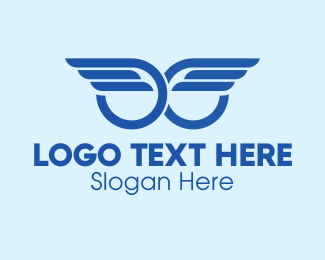 Angelic - Blue Angel Wings logo design