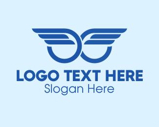 Angel - Blue Angel Wings logo design