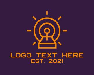 Controller Pad - Minimalist Orange Joystick logo design