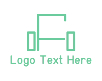 Furniture Store - Green Sofa Lines logo design