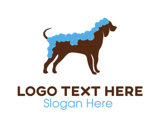 Dog Cleaning Grooming Logo