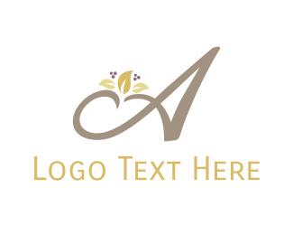 Autumn - Autumn Floral Letter A logo design