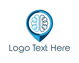 Knowledge - Brain Pin logo design