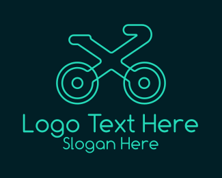 Bike Race - Neon Bike Letter X logo design